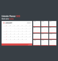 calendar for 2020 starts sunday calendar vector image