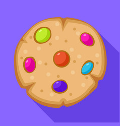 Candy bean on biscuit icon flat style vector