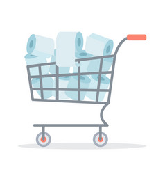 Cart with toilet paper vector