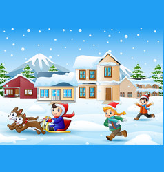 Cartoon boy riding sled on snowing village wit vector