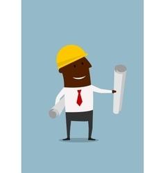 Cartoon engineer or builder with blueprints vector
