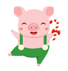 cartoon pig symbol of 2019 chinse new year dance vector image