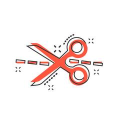 Cartoon scissors icon in comic style scissor sign vector