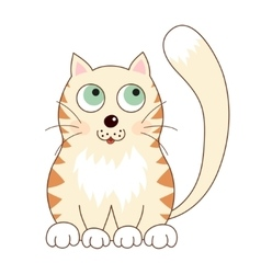 Cartoon smiling gentle beige kitty with ginger vector image