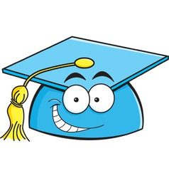Cartoon smiling graduation cap vector image