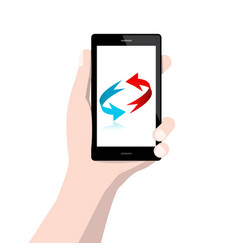 cell phone with arrows in human hand isolated on vector image