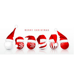 christmas ball in red santa claus hat isolated vector image