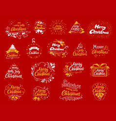 Christmas lettering designs set vector