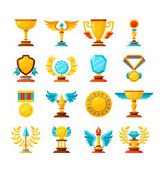 color trophy and awards icons set on white vector image