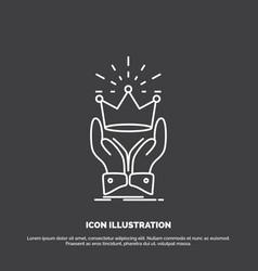Crown honor king market royal icon line symbol vector