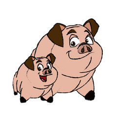 Cute two pig funny piggy smiling together vector