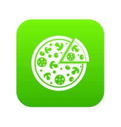 delicious italian pizza lifted slice one icon vector image