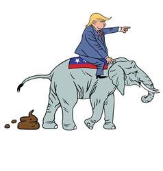Donald Trump Riding Republican Elephant Caricature vector image