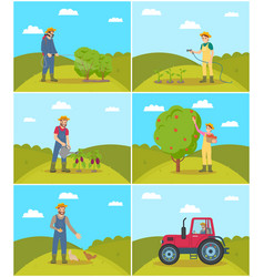 Farmer spraying bushes set vector