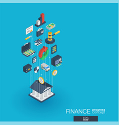 finance integrated 3d web icons growth and vector image