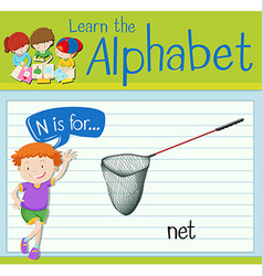 Flashcard letter N is for net vector image