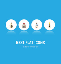 flat icon christian set of building traditional vector image