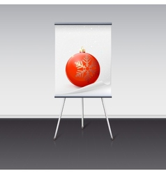 Flipchart with a Christmas ball on it vector image