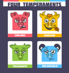 Four temperaments set vector