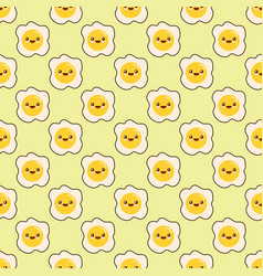 fried egg faces seamless pattern kawaii cartoon vector image