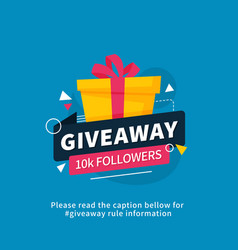 Giveaway 10k followers poster template design vector