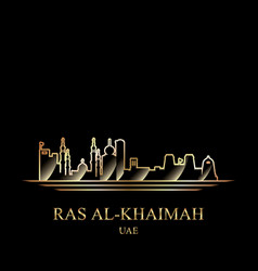 Gold silhouette of ras al-khaimah on black vector
