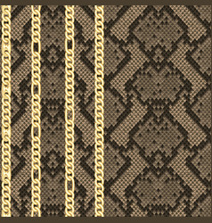 golden chains seamless pattern on snake background vector image