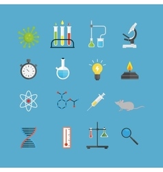 Graphic set chemical laboratory science flat vector