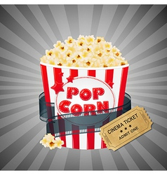 Grey Grungy Background With Popcorn And Tickets vector image