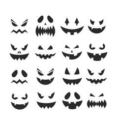 Halloween pumpkin jack-o-lantern faces october vector