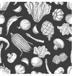 hand drawn vegetables vintage seamless pattern vector image