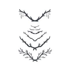 hand drawn vintage floral laurels set of vector image