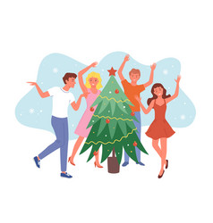 happy friends dancing near christmas tree funny vector image
