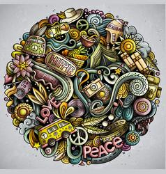 Hippie hand drawn doodles round vector