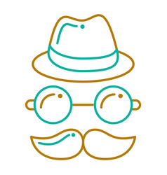 hipster hat mustache glasses face vector image