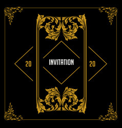 invitation border gold vector image