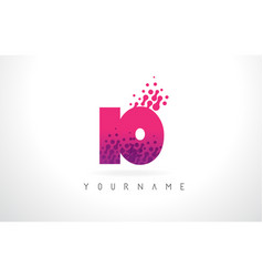 Io i o letter logo with pink purple color and vector