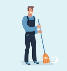 Janitor sweeping fallen leaves vector