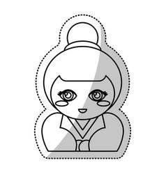 kokeshi doll souvenir outline vector image