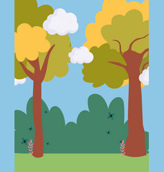 landscape meadow bush trees sky scene vector image
