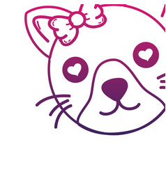 Line cute cat female head with hearts eyes vector