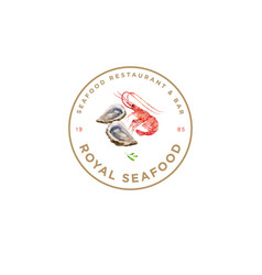 Logo royal seafood red prawn oysters watercolor vector