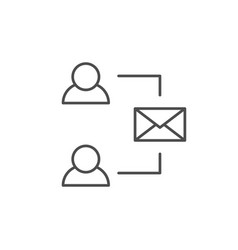 mail communication line outline icon vector image