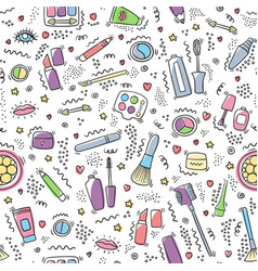 make up doodle pattern cosmetics vector image