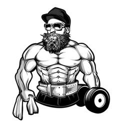 Man body bodybuilder dumbbell logo vector