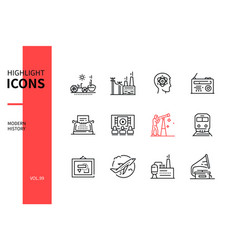 Modern history - line design style icons set vector