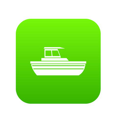 motor boat icon digital green vector image