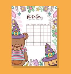 October calendar with cute bears animal vector
