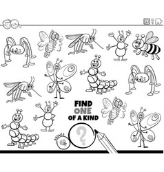 one a kind game with insects color book page vector image