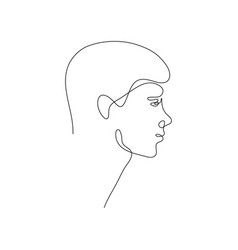 one line man head design silhouettehand drawn vector image